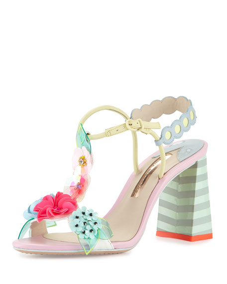 Sophia Webster Lilico Floral Mid-Heel Sandal, Pearl Blue