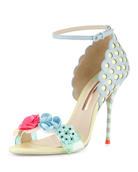 Lilico Floral Ankle-Wrap Sandal, Pearl Blue