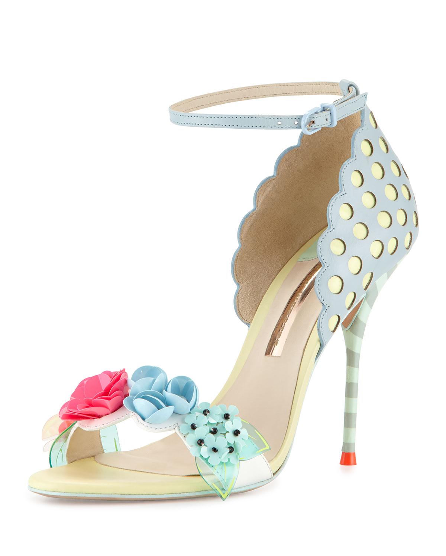 Sophia Webster Lilico Metallic Floral Ankle-Wrap Sandal qsWv5peb