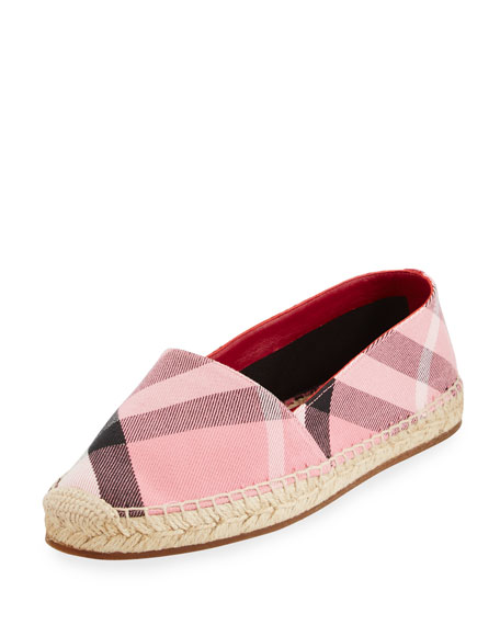 Hodgeson Check Espadrille Flat, Rose Pink