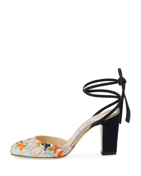 Lucia Floral Satin 85mm Ankle-Wrap Sandal, Orange/Camellia