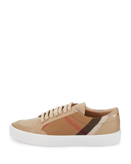 Salmond Check & Leather Low-Top Sneaker