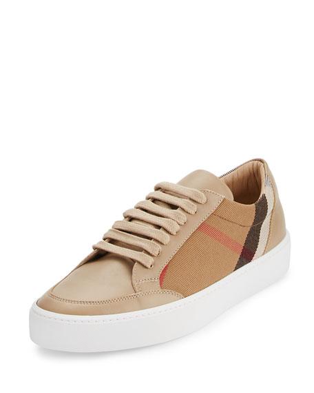 Burberry Salmond Check & Leather Low-Top Sneaker