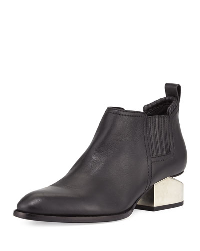 Kori Tilt-Heel Leather Bootie, Black