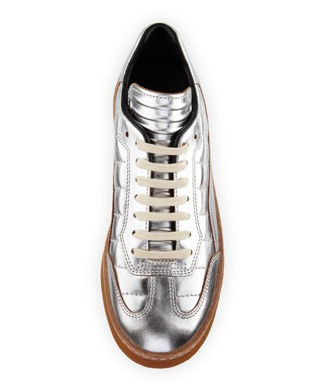 Eden Metallic Leather Creeper, Silver