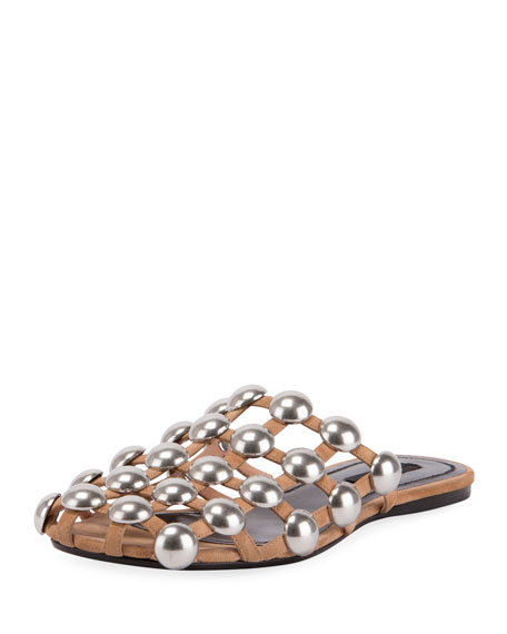 Amelia Studded Suede Mule, Clay