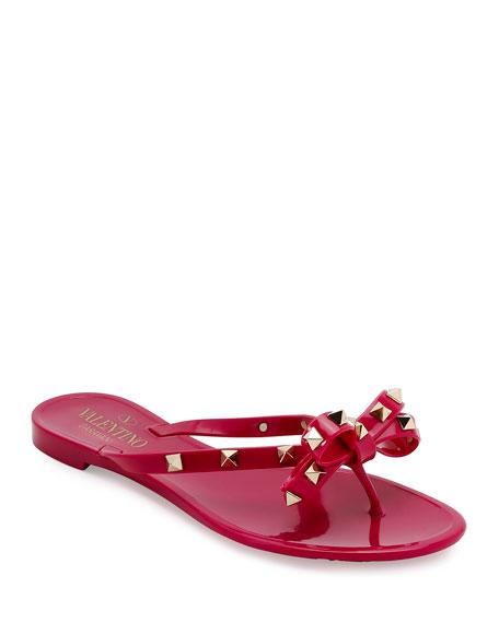 Valentino Rockstud PVC Flat Thong Sandal, Deep Cyclamen