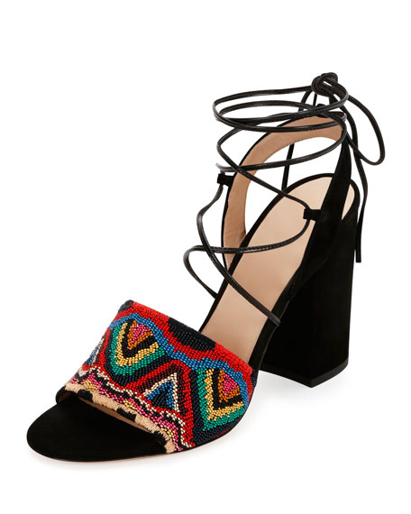 Valentino Beaded Lace-Up Sandals footlocker finishline sale online mXV6c3hy