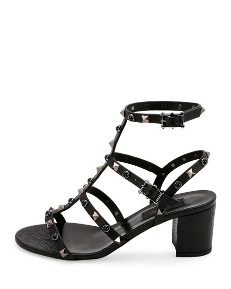 Rockstud Rolling 60mm City Sandal, Nero