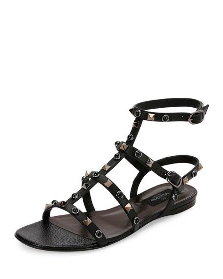 Valentino Garavani Rockstud Rolling Leather Flat Sandal, Nero
