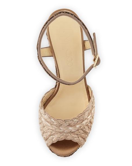 Perla Jute/Glitter Wedge Sandal, Light Mocha