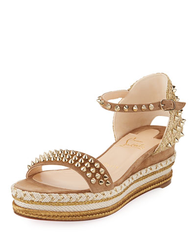 Madmonica Spiked 60mm Wedge Red Sole Sandal