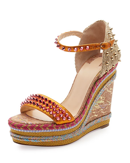 Christian LouboutinMadmonica Spiked 120mm Wedge Red Sole Sandal, Full Moon