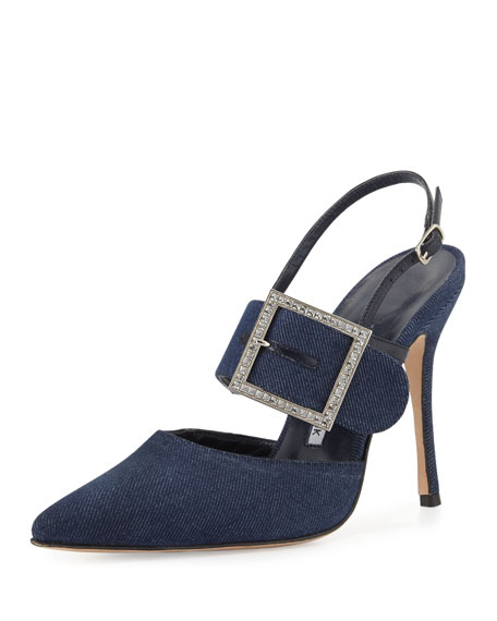 Manolo Blahnik Beladona Denim Buckled Slingback Pump, Denim