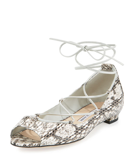 Manolo Blahnik Aneska Snakeskin Lace-Up Open-Toe Flat, Natural