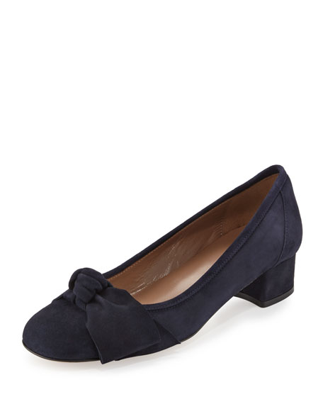 Fadia Knotted Low-Heel Pump, Navy