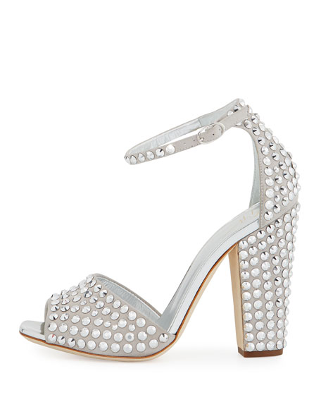 Lavinia Studded 100mm Sandals, Silver