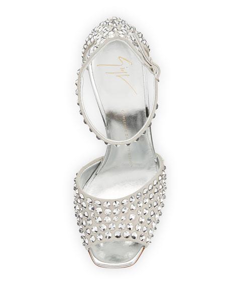 Lavinia Studded 100mm Sandal, Silver