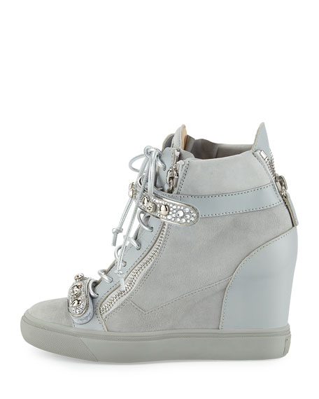 Tiana Crystal High-Top Wedge Sneaker, Gray