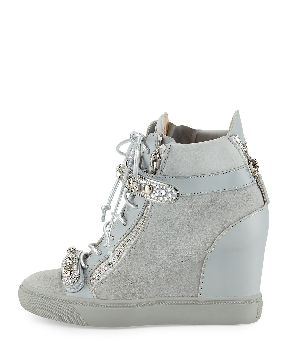 5f19a542fc2 Tiana Crystal High-Top Wedge Sneaker, Gray