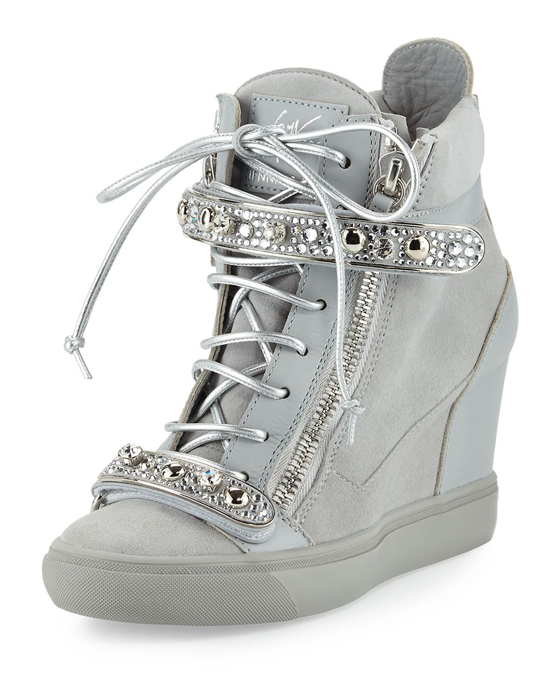 c4c9855eef6 Giuseppe Zanotti for Jennifer LopezTiana Crystal High-Top Wedge Sneaker