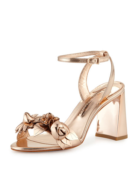 Lilico Floral Leather 85mm Sandal, Rose Gold