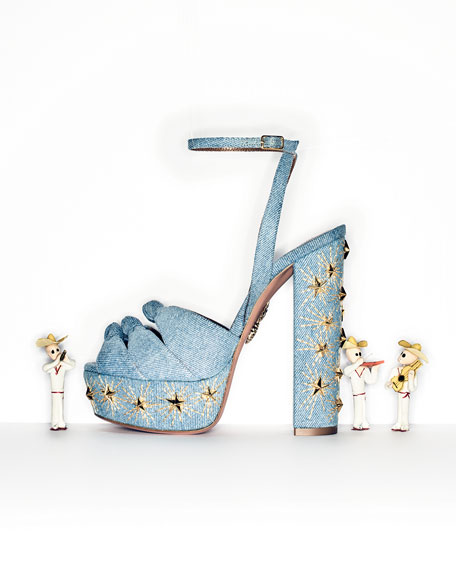 Aquazzura Mira Studded Denim Platform Sandal, Blue