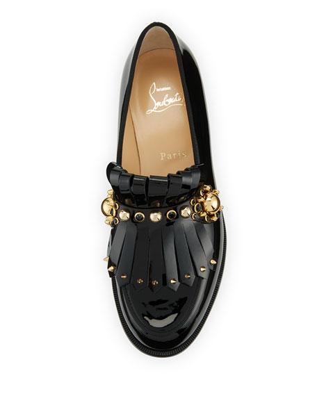 Octavian Patent Kiltie Red Sole Loafer, Black