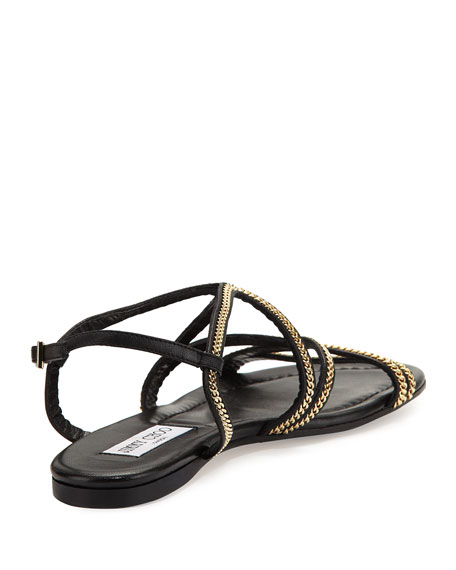 Nickel Chain Strappy Flat Sandal, Black