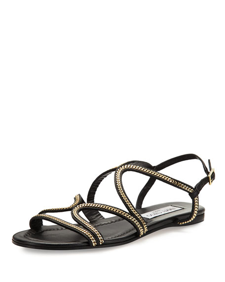 Jimmy Choo Nickel Chain Strappy Flat Sandal, Black