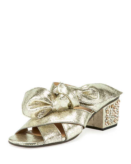 Chloe Leather Bow Chunky-Heel Sandal, Gray Glitter