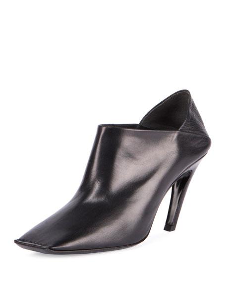 Balenciaga Square-Toe Leather Bootie, Noir