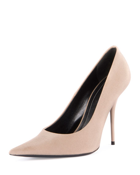 Balenciaga Satin Pointed-Toe 110mm Pump, Beige