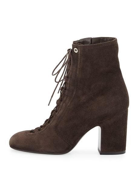 Milly Lace-Up Suede Bootie, Gray