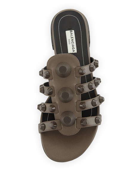 Studded Caged Flat Slide Sandals