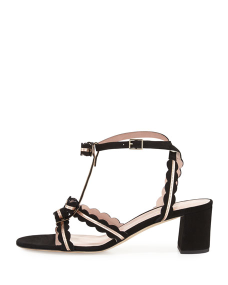 medea low-heel suede sandal with bows, black