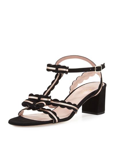 medea low-heel suede sandal with bows, black