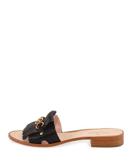 Brie Metallic Chain Flat Slide Sandal
