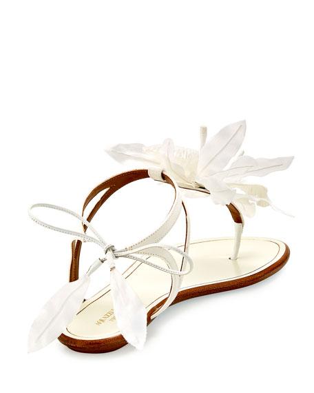 Flora Petal-Embellished Flat Bridal Sandal, White