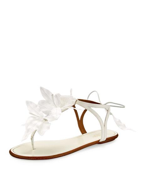 Aquazzura Flora Petal-Embellished Flat Bridal Sandal, White