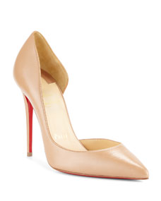 Christian Louboutin Iriza Half D Orsay 100mm Red Sole Pump by Christian Louboutin