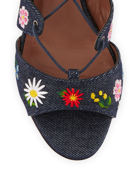 Isadora Floral-Embroidered Lace-Up Sandal, Blue