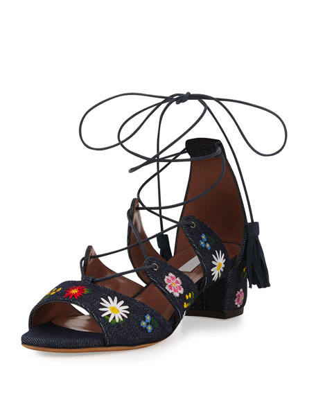 Tabitha Simmons Isadora Floral-Embroidered Lace-Up Sandals, Blue