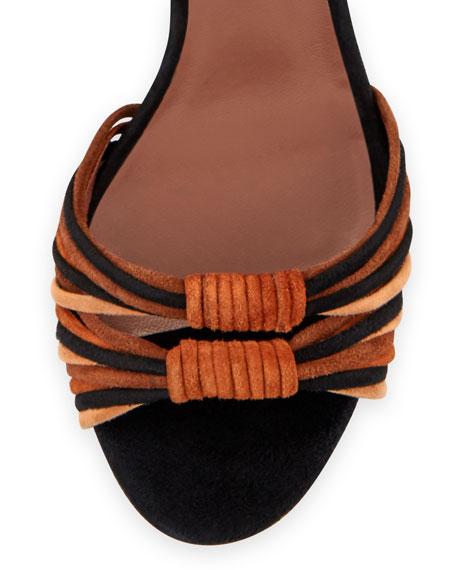 Jamie Knotted Suede Block-Heel Sandal, Brown/Black