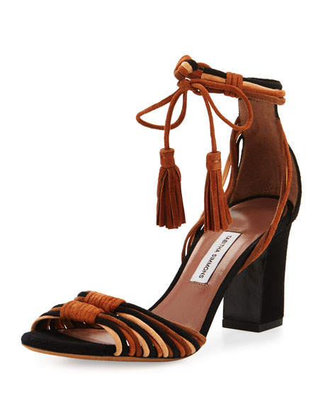 Jamie Knotted Suede Block-Heel Sandals, Brown/Black