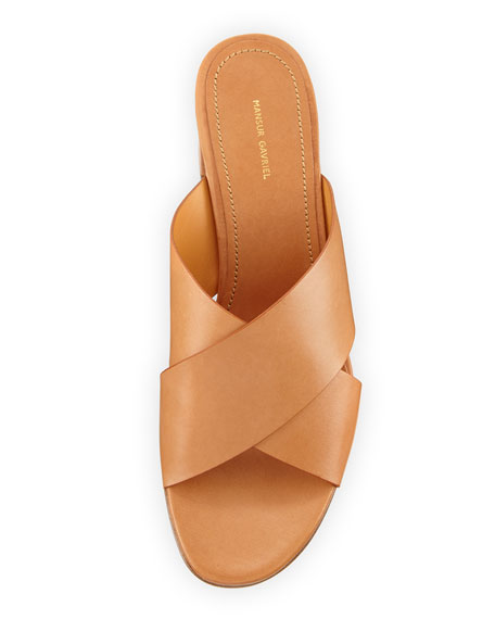 Leather Crisscross 40mm Slide Sandal, Tan