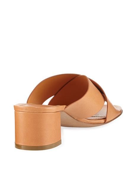 Leather Crisscross 40mm Slide Sandal, Tan