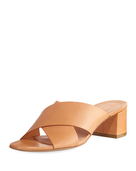 Mansur Gavriel Leather Crisscross 40mm Slide Sandals, Tan