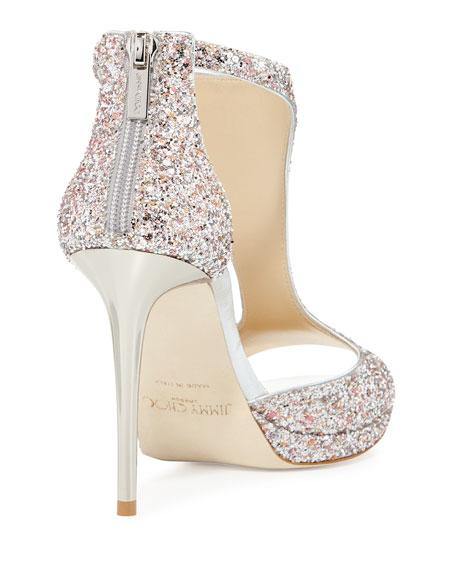 Lana Glitter T-Strap 100mm Sandal, Camellia Mix
