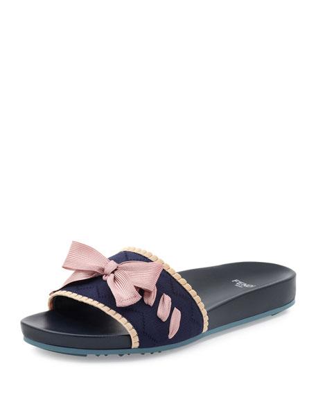 Knit Bow-Tie Slide Sandal